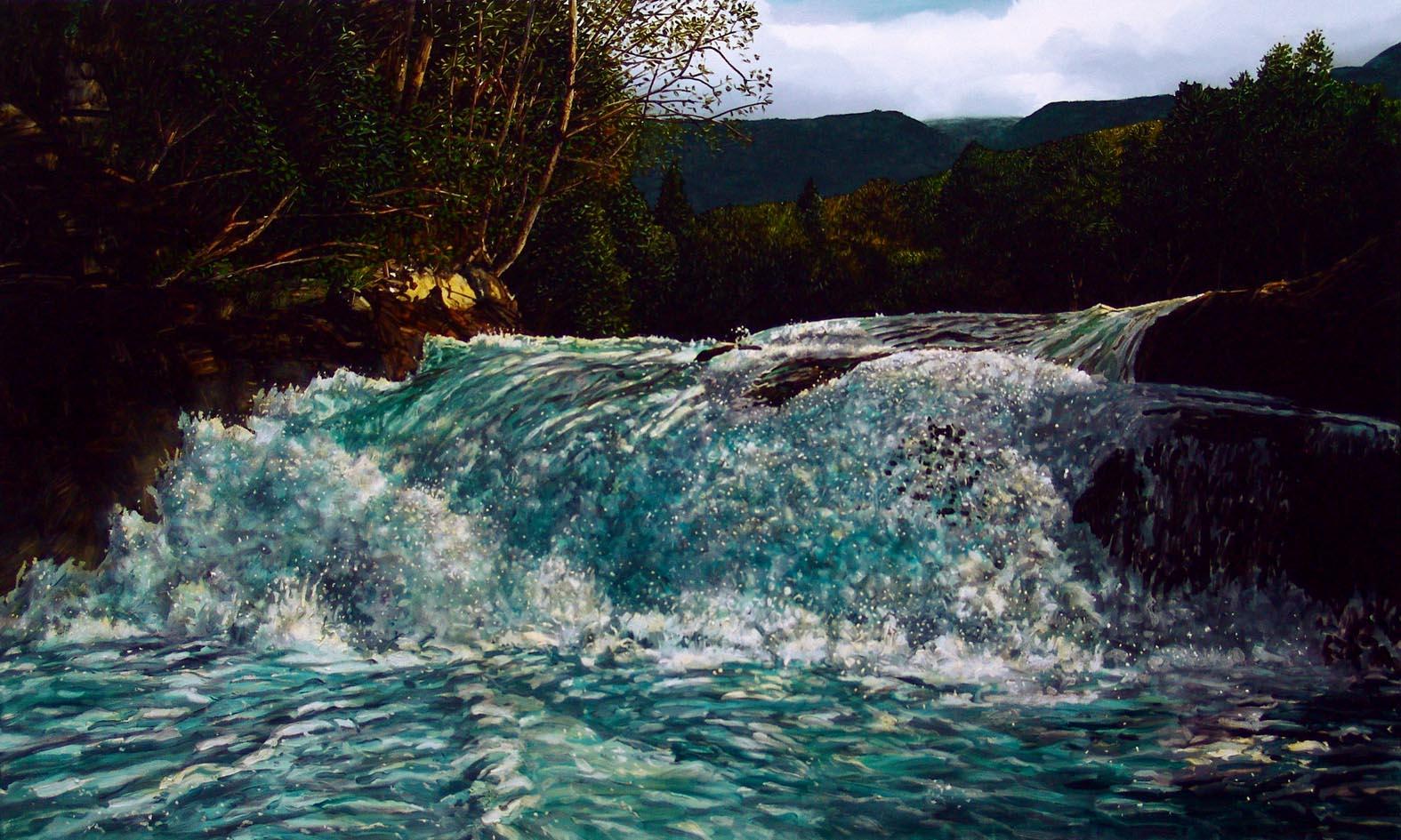 Waterfall, Gudbransjuvet, Norway  Oil on canvas, 250cm x 150cm