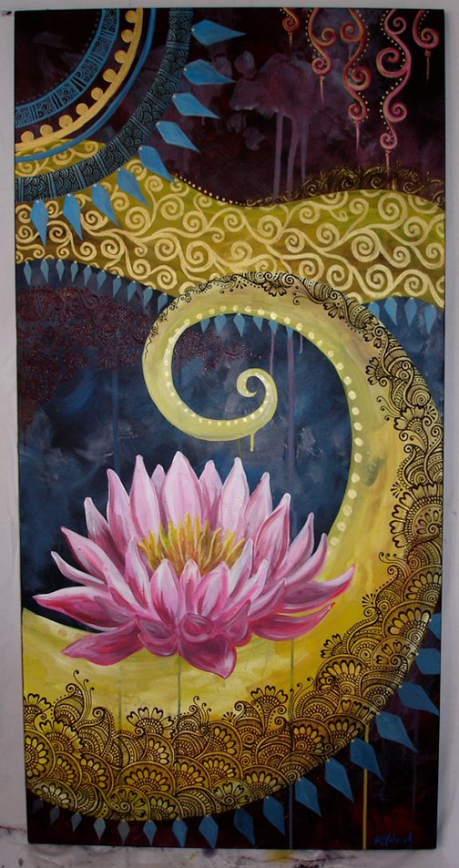 Acrylic paint and henna paste on stretched canvas