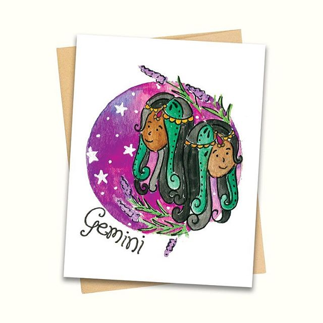 Gemini energy. ✨ #geminiseason #zodiacsigns #illustrator #illustration #southasianartist #stationery #astrologicalsigns #womenwhodraw #handdrawn #handpainted #illustratorsoninstagram #browngirlmagic #weneeddiversebooks
