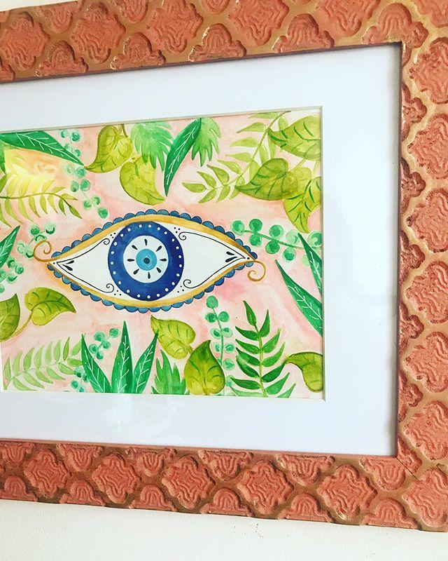 Good vibes only. 🧿🍃 . . . . #bohodecor #wallart #artprints #illustratorsoninstagram #evileye #plantlady #plantsmakepeoplehappy #womenwhodraw #artistsoninstagram @hellosunshine @refinery29 @iamwellandgood @flow_magazine