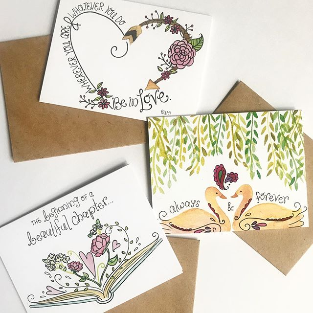 """I like the idea that cards can be used as mini pieces of art with a sentiment attached, so I try to focus on a feeling rather than a specific occasion when creating illustrations for them.  That way, whether it's for a new milestone, a celebration, or just because, the recipient can display their mini """"prints"""" as a little reminder of love. 💛 . . . #greetingcards #womenwhodraw #stationery #illustratorsoninstagram #handlettering #watercolor #cardsofinstagram #illustration #brightandbluecards"""