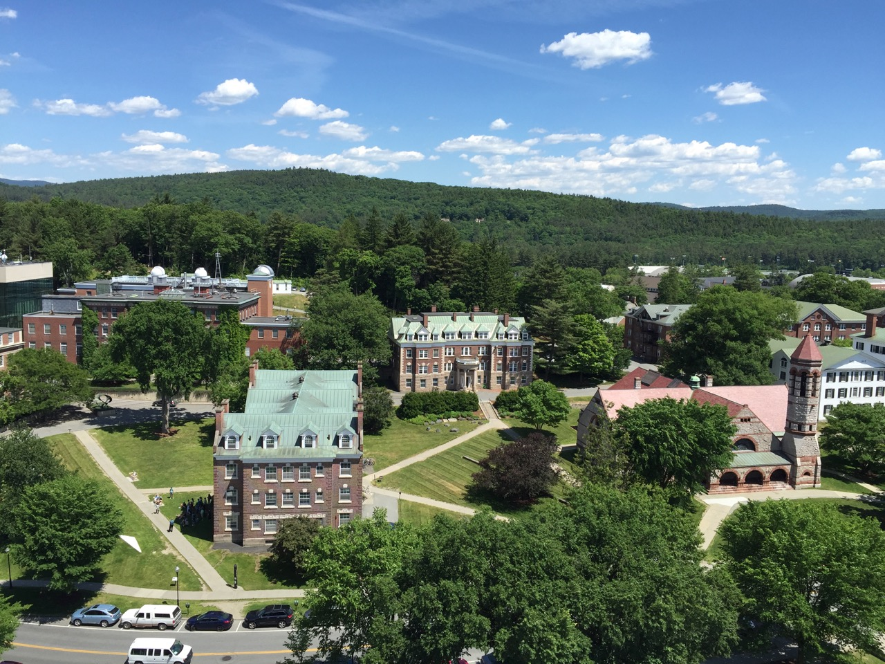 The view from atop Baker Tower, looking out at Wheeler (my freshman dorm) and other buildings on the Dartmouth campus