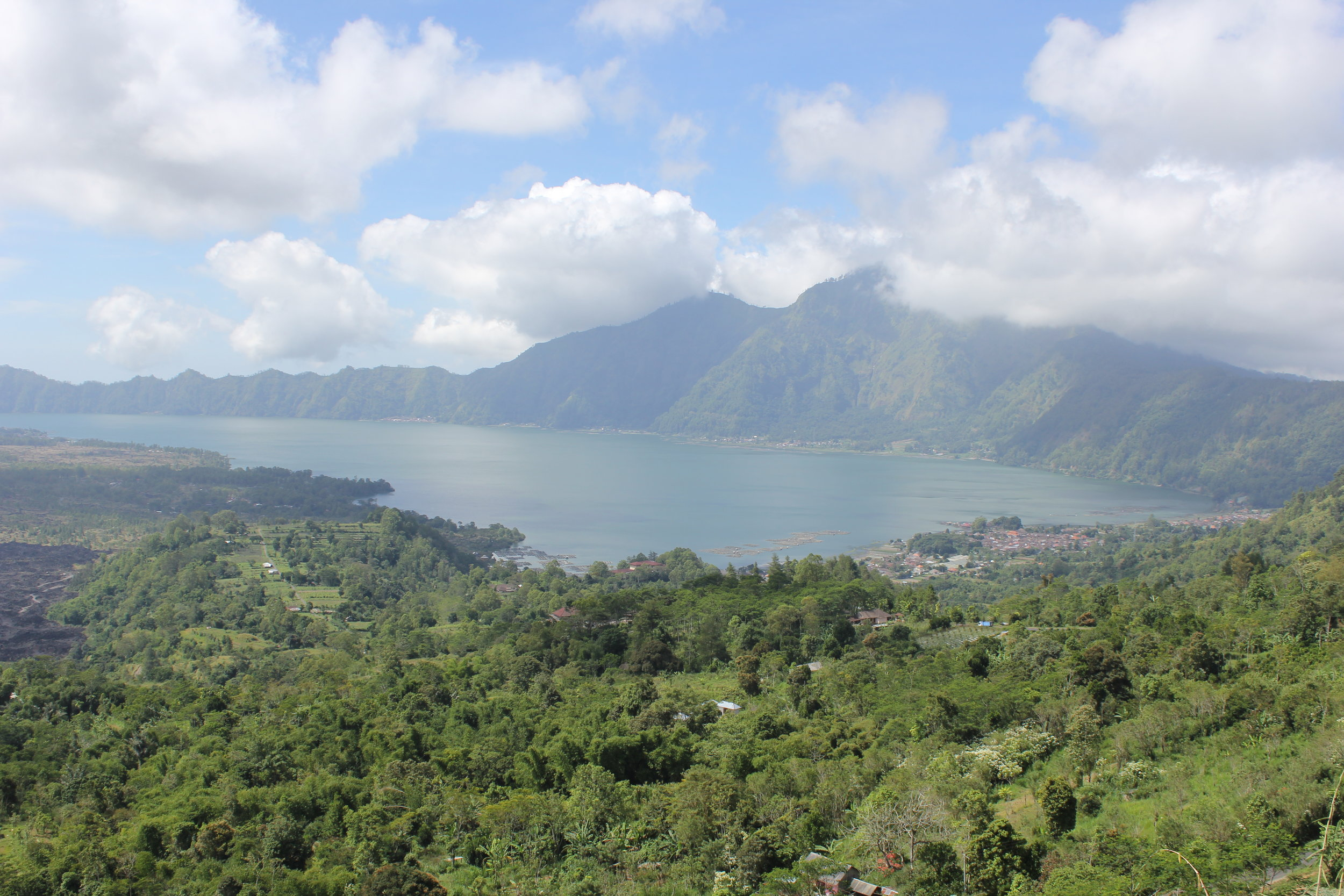 Looking out toward Kintamani Volcano and Batur Lake in the middle of Bali
