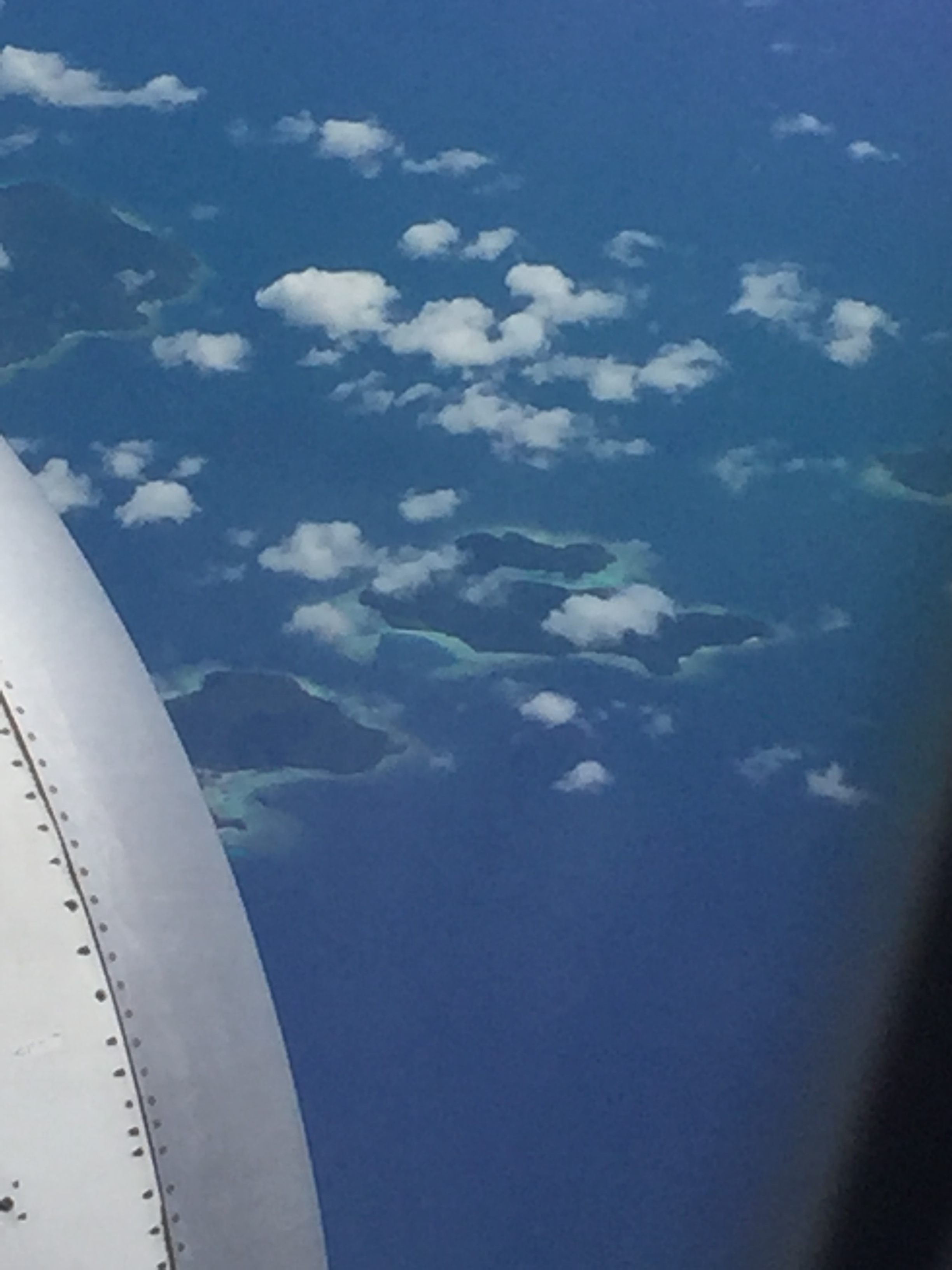 Flying over the Pacific en route from Bali to Bangkok, We flew over these small isolated islands. Using the GPS I was able to identify them as Natuna islands, home to around 80,000 people, mostly Malay. Seems like a good place for birdwatchers….