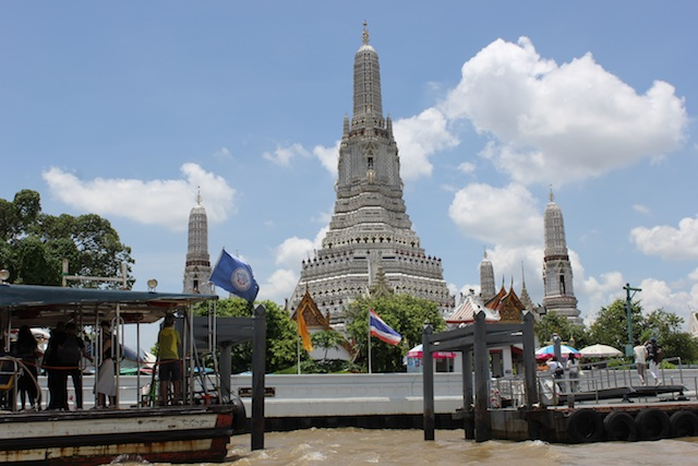 Approaching Wat Arun from the river