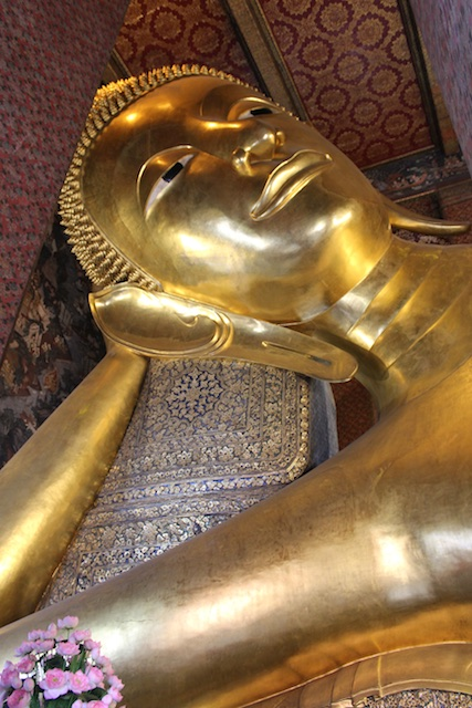 The Reclining Buddha in Wat Pho--a must see in Bangkok
