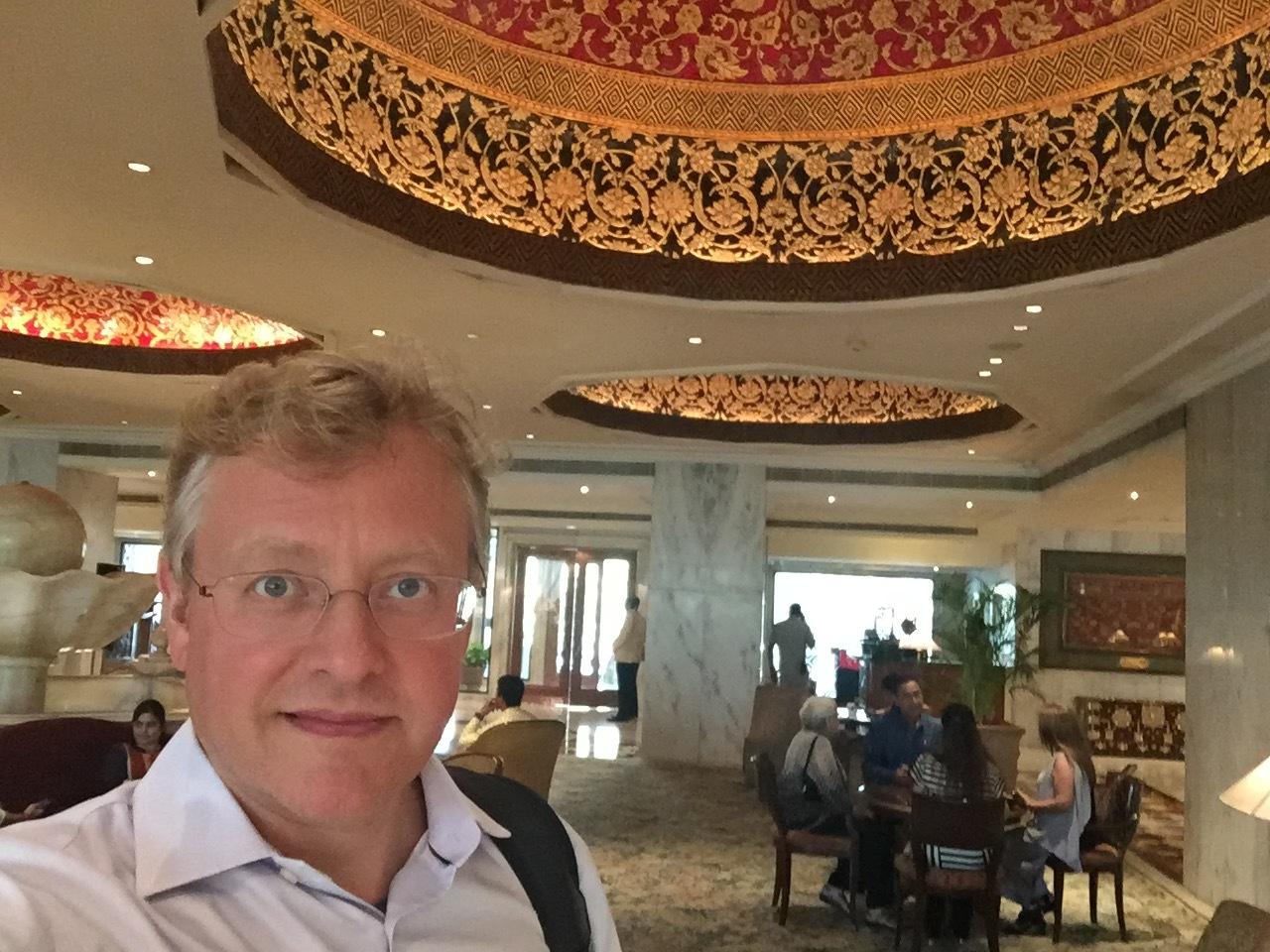 A selfie in the lobby of the Taj in Delhi