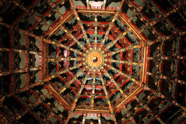 Looking up at the domed ceiling inside the City God Temple in Hsinchu