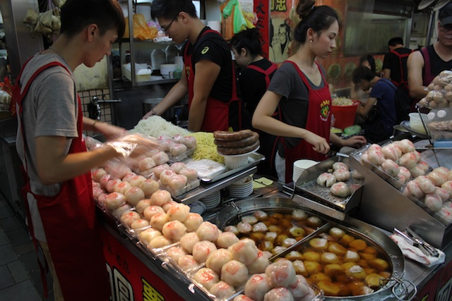 One of many food stalls inside the City God Temple, this one sells pork dumplings that are a local specialty