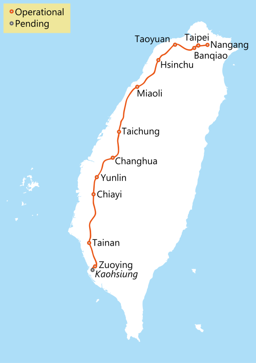The HSR line in Taiwan makes it very convenient to get from one city to another along the western coastline (from Wikipedia)