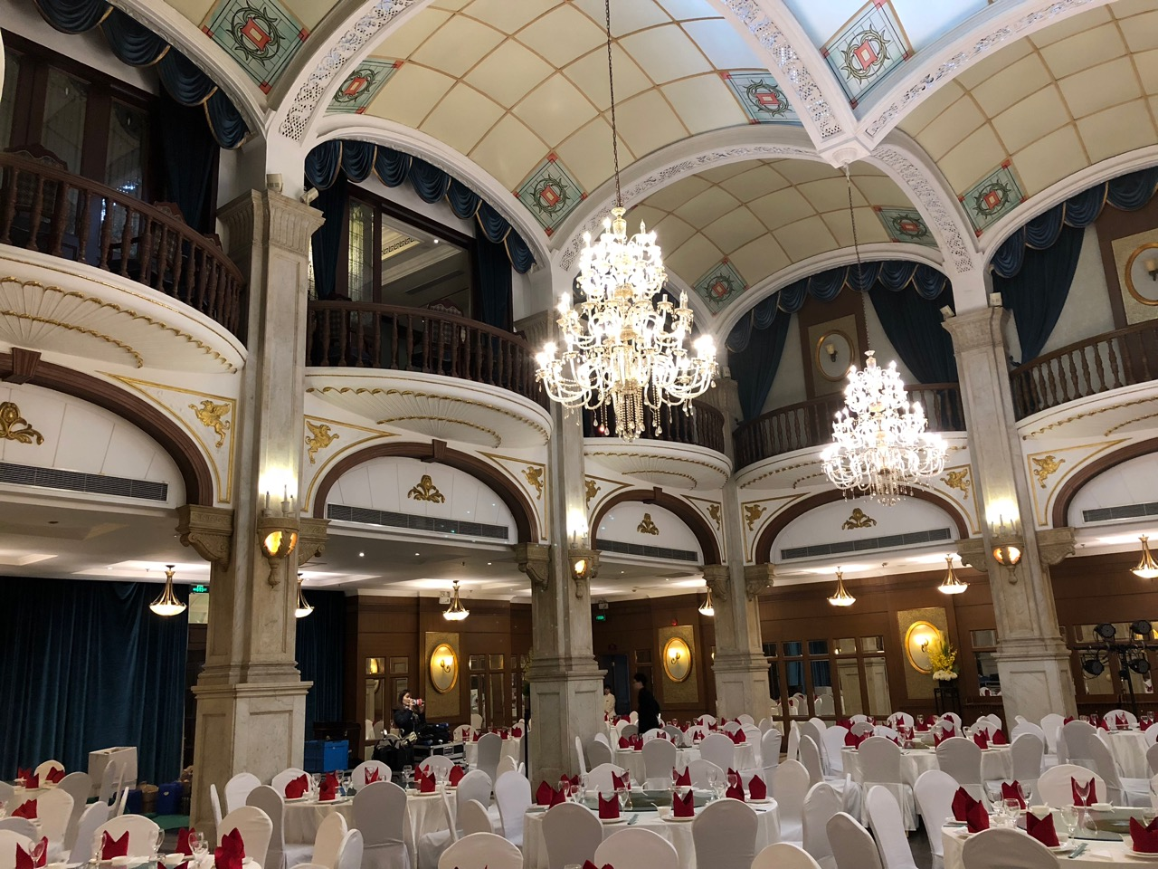The ballroom, once the center of social life for high society in the city, now used for Chinese wedding banquets
