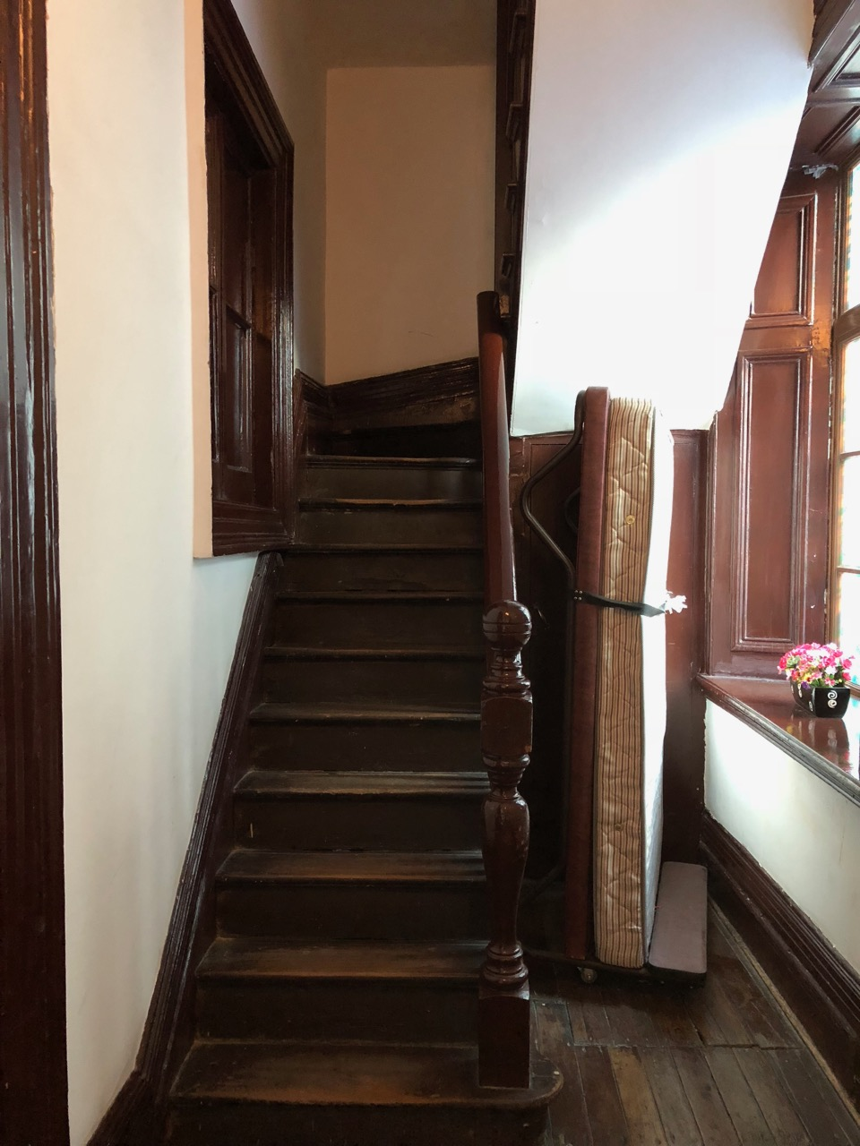 creaky old back stairs and creepy old hallways