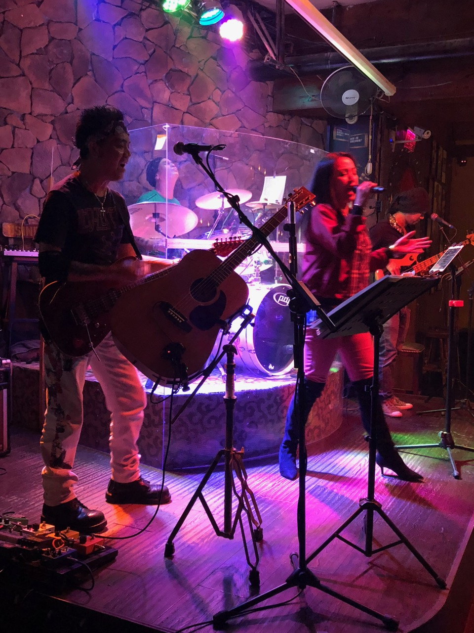 "Marvin, Ama and the band at Eagle Bar in Kunshan: ""And as we wind on down the road"""