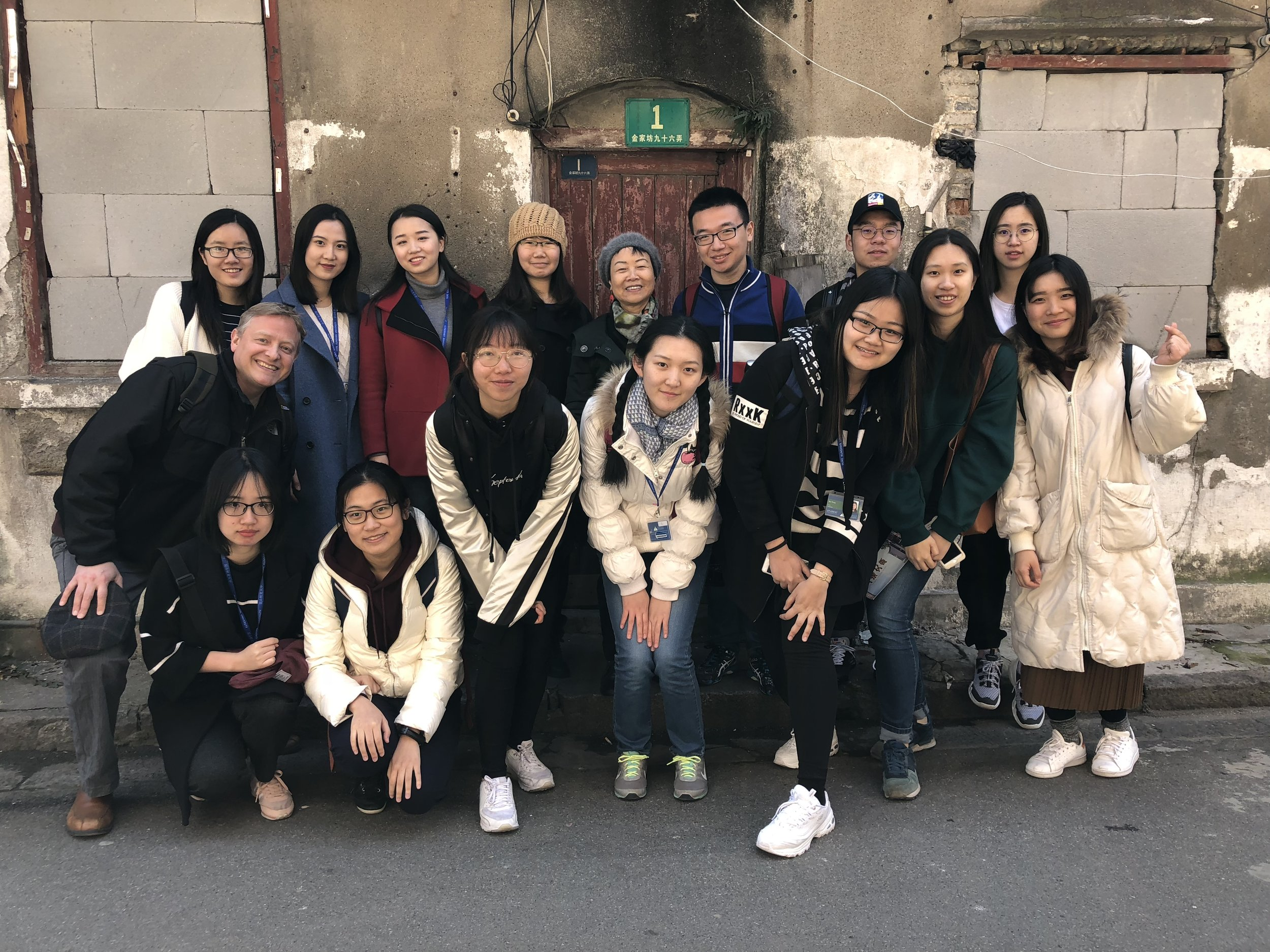 posing with students and Dr Qin Shao in the old neighborhood alleyways of the area east of Lao Xi Men, sadly soon to be demolished
