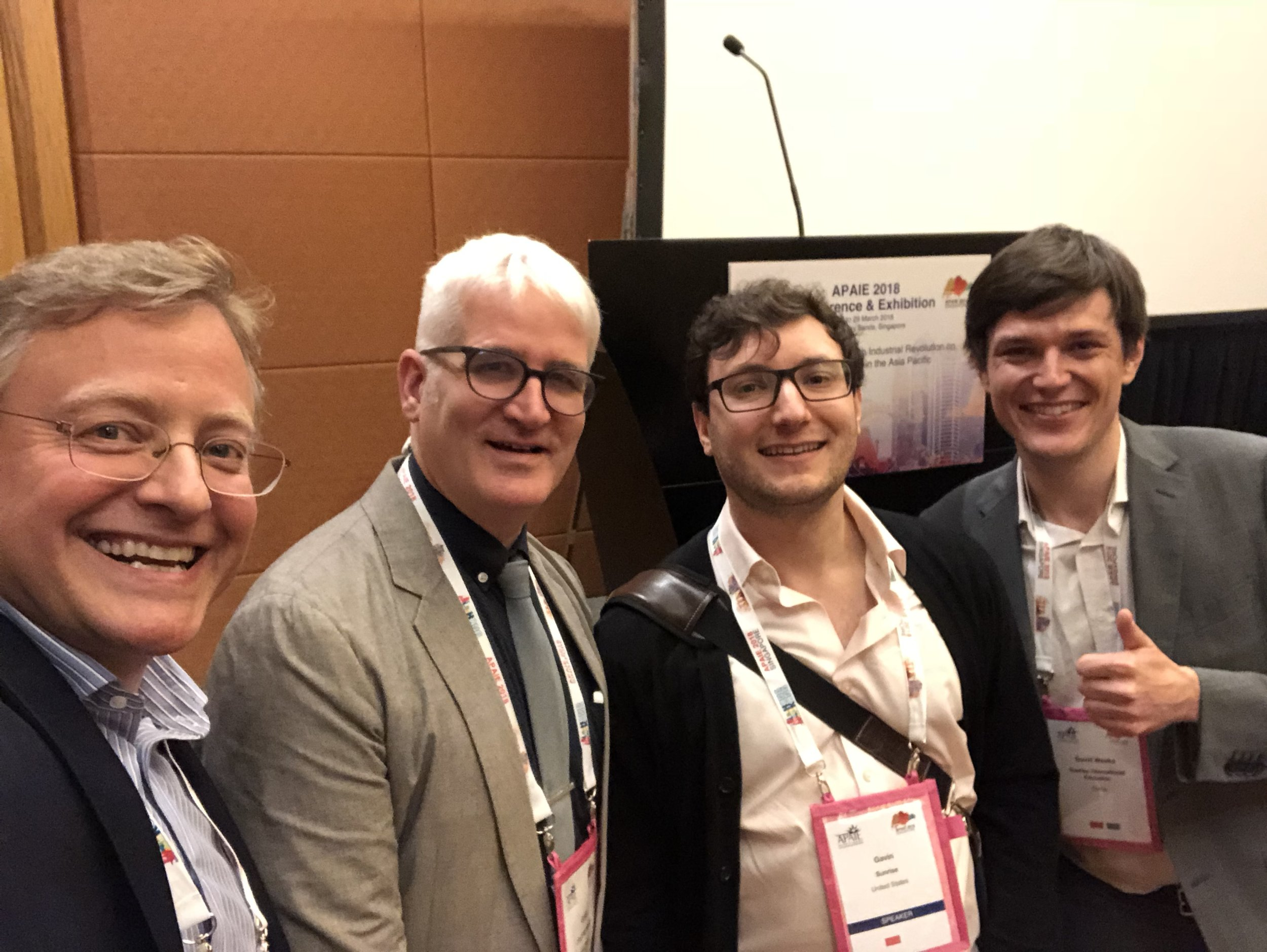 Posing after our panel with fellow panelists Clay Hensley of College Board and Gavin Newton Tanser and also David Weeks of Sunrise International