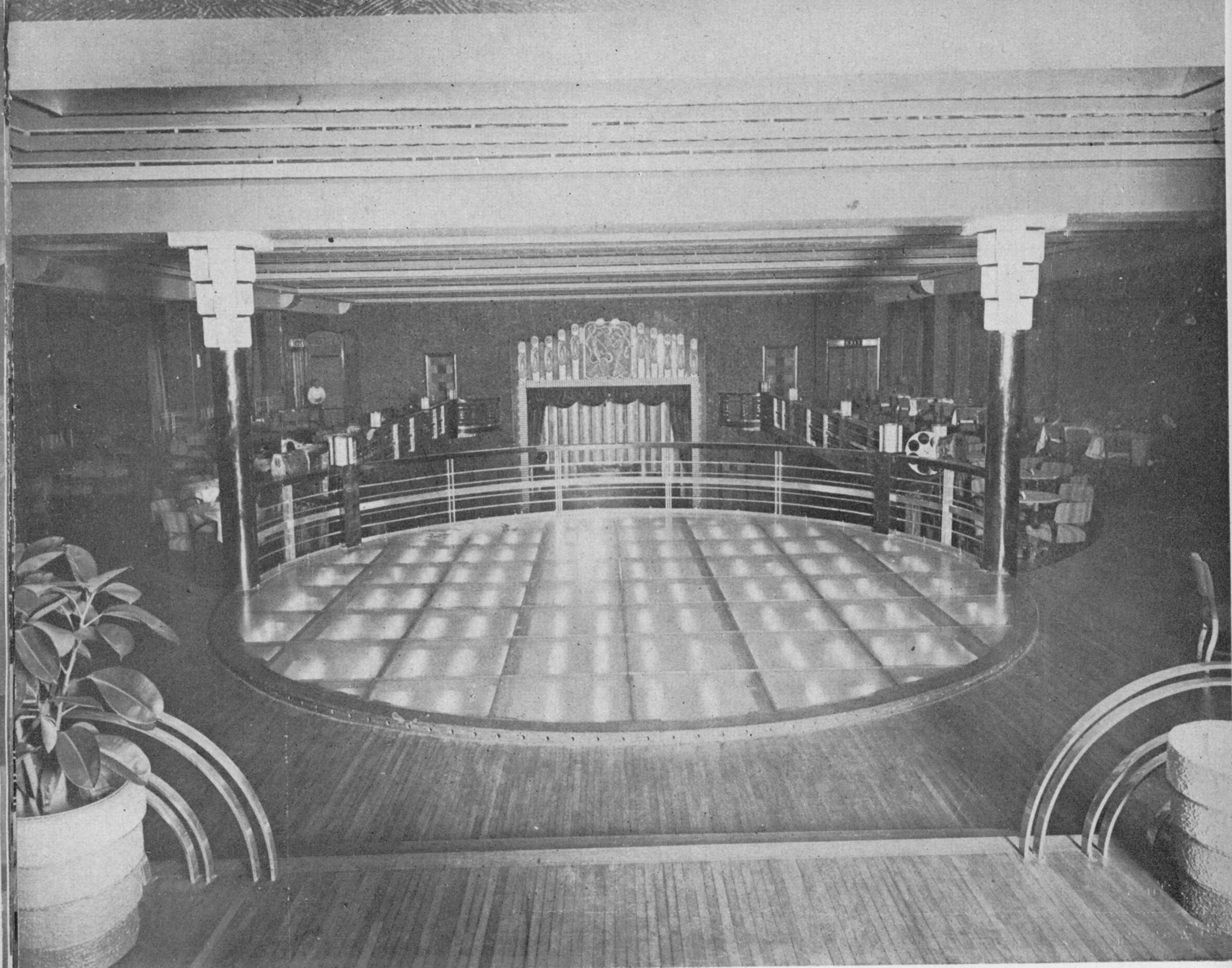 The upper dance floor was built on plate glass with colored lights underneath.