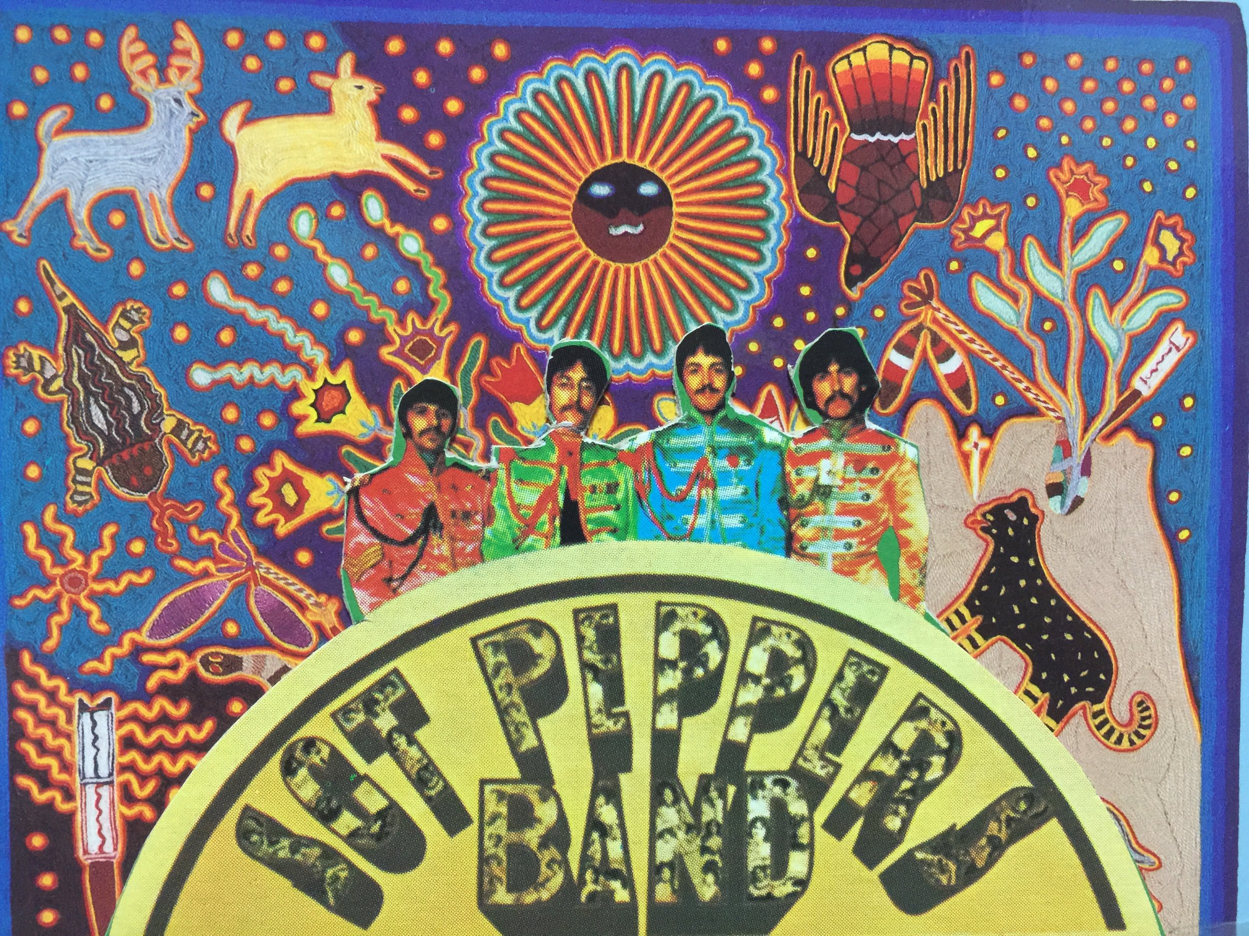 A mashup I made in high school from cutouts of the Sgt. Peppers album and a peyote-inspired artwork from native America which seemed to work at the time