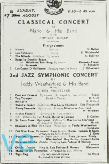 Above: A programme of Galle Face Hotel, Colombo In 1939 which shows clearly the variety of music which was expected of Teddy's bands during his period in the Far East. Courtesy Mario Booth.
