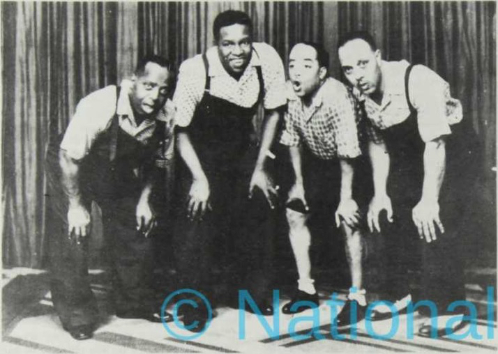 """Above: """"The Plantation Quartet"""" probably taken in the Galle Face Hotel, Colombo, Ceylon in 1939. L to R: Crickett Smith. Teddy Weatherford, Rudy Jackson, Roy Butler. Photo courtesy Luis Moreno."""