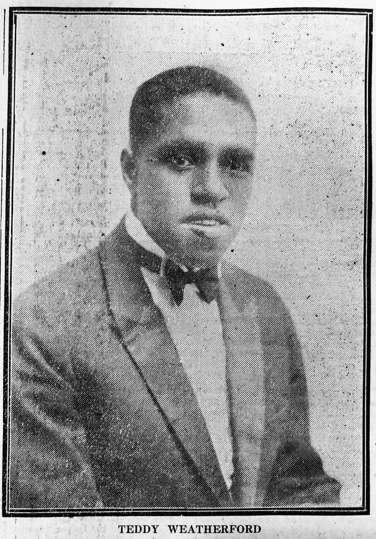 A rare photo of Teddy Weatherford published in the  China Press  in Shanghai in 1926 when he was performing with the Jack Carter orchestra at the Plaza Hotel