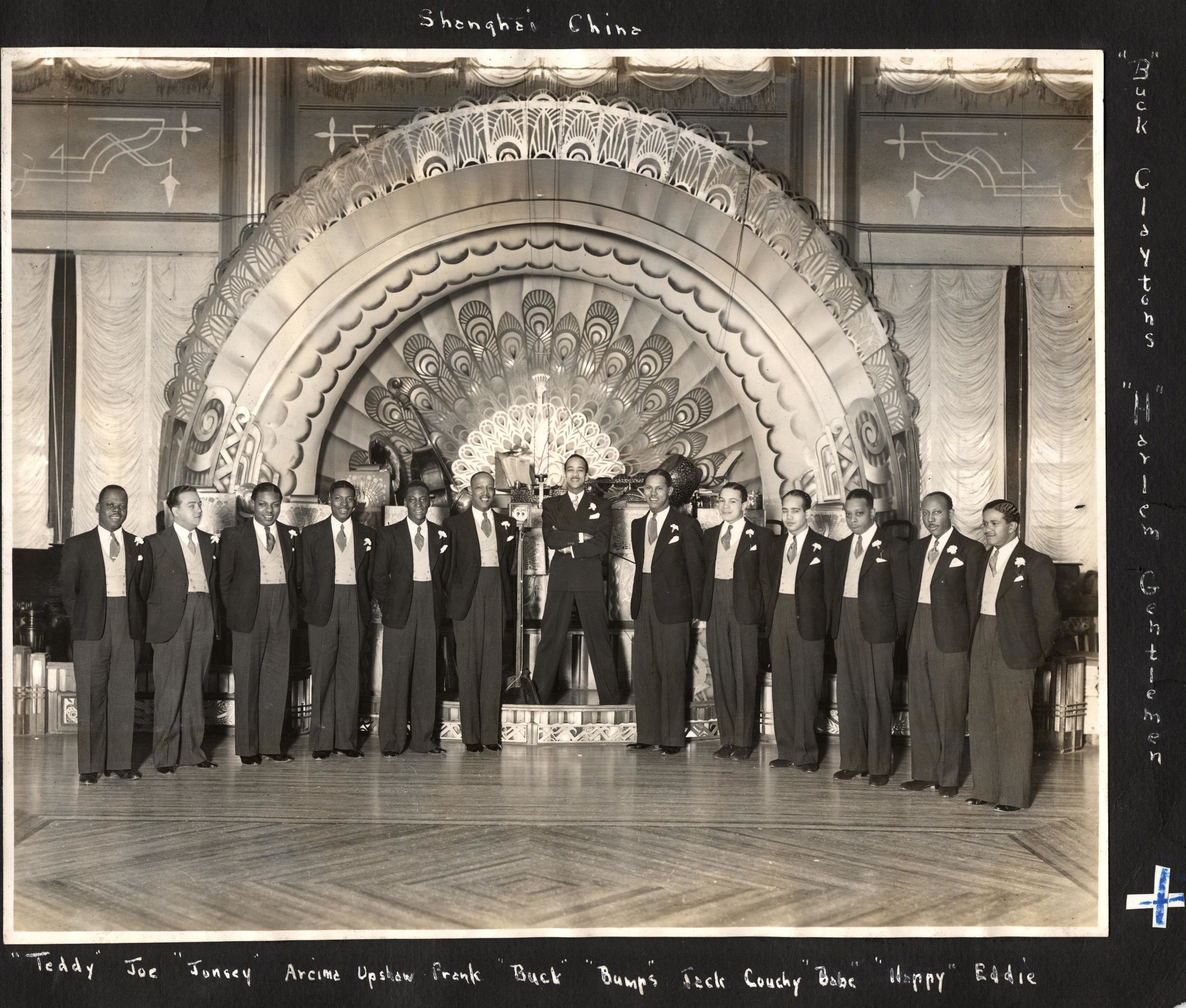 Buck Clayton and his Harlem Gentlemen posing for a photo at the Canidrome Ballroom in Shanghai's French Concession in 1934. From the Buck Clayton Collection.