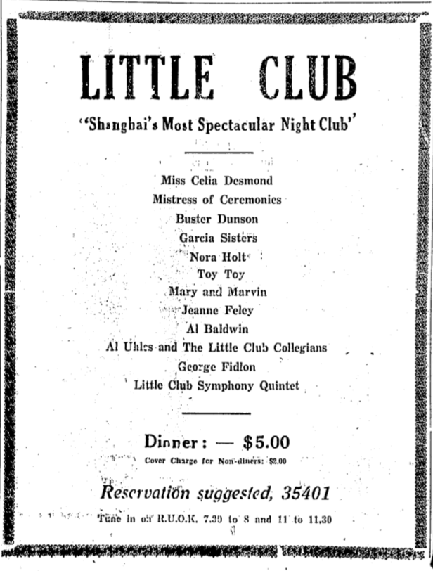 Ad for the Little Club on Bubbling Well Road appearing in Jan 1933 in the China Press