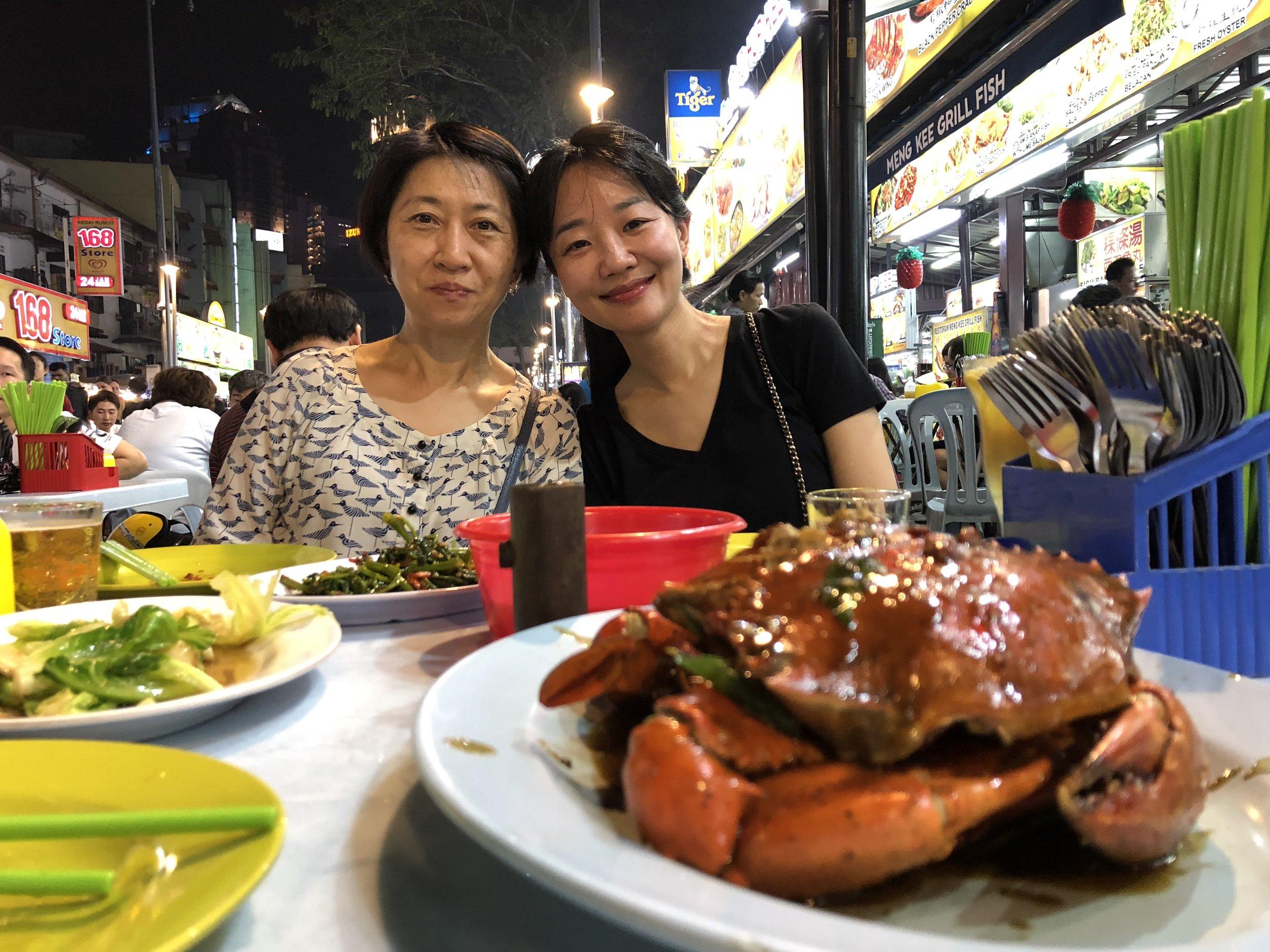 Enjoying a seafood meal at the Jalan Alor food street in Bukit Bintang KL with SAS Board members Sue and Christina