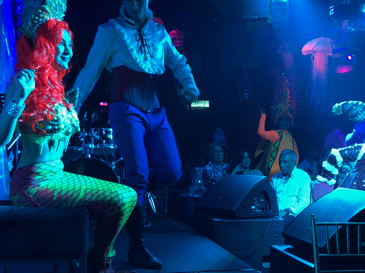 The Little Mermaid performing on stage at Suzie Wong's nightclub in KL