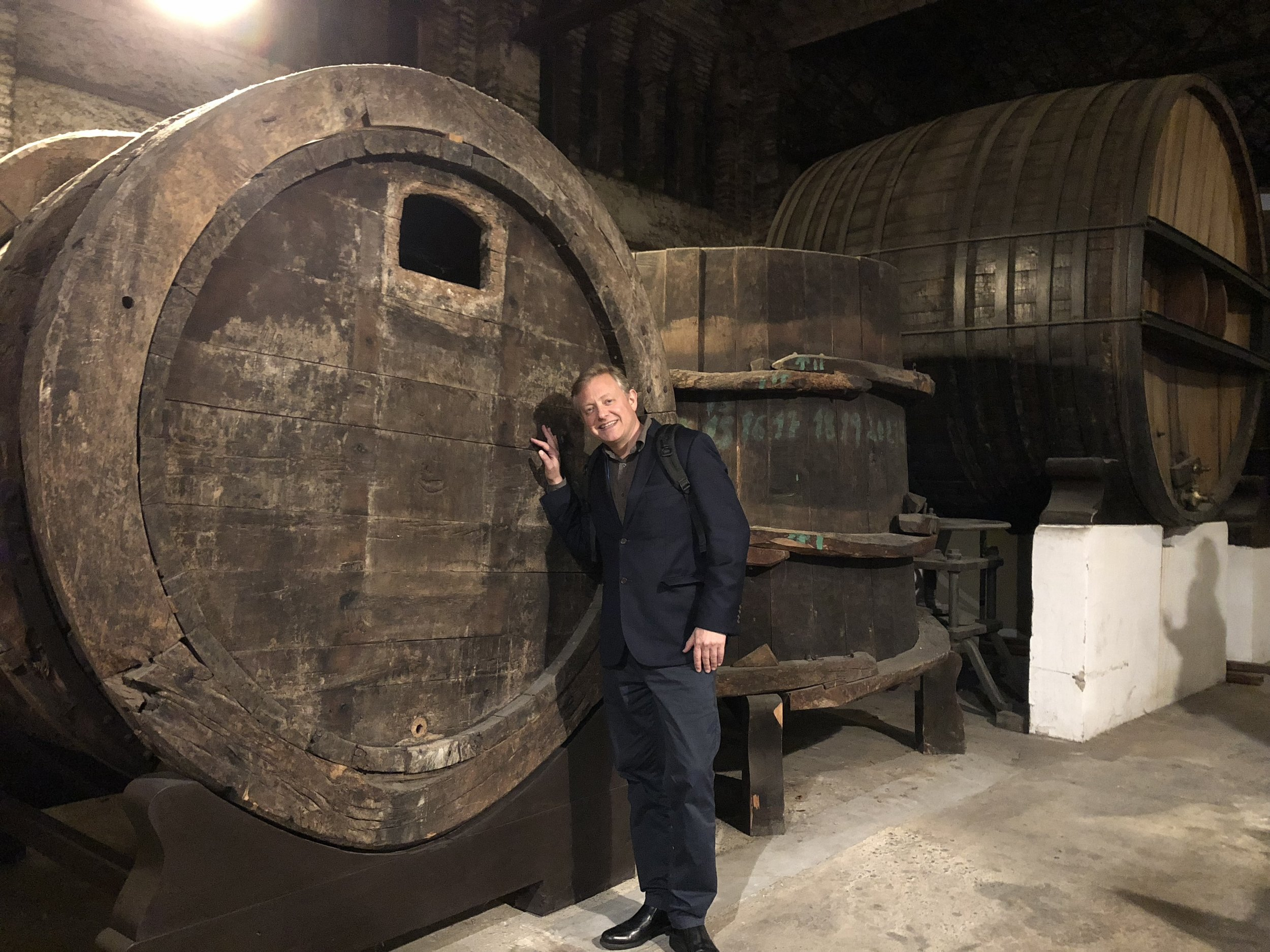 Having barrels of fun at the conference, and feeling slightly dizzy from the combination of fizzy wine and winding rides into the catacombs. Poe would love this journey.