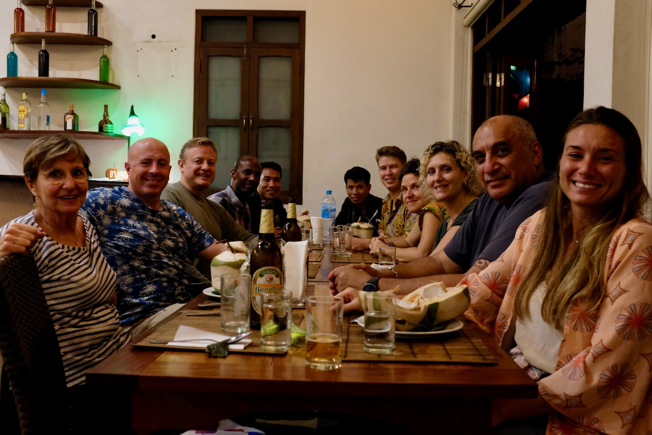 First night dinner at Coconut Restaurant in midtown Luang Prabang. Les is second from right and next to him is Nathalia.