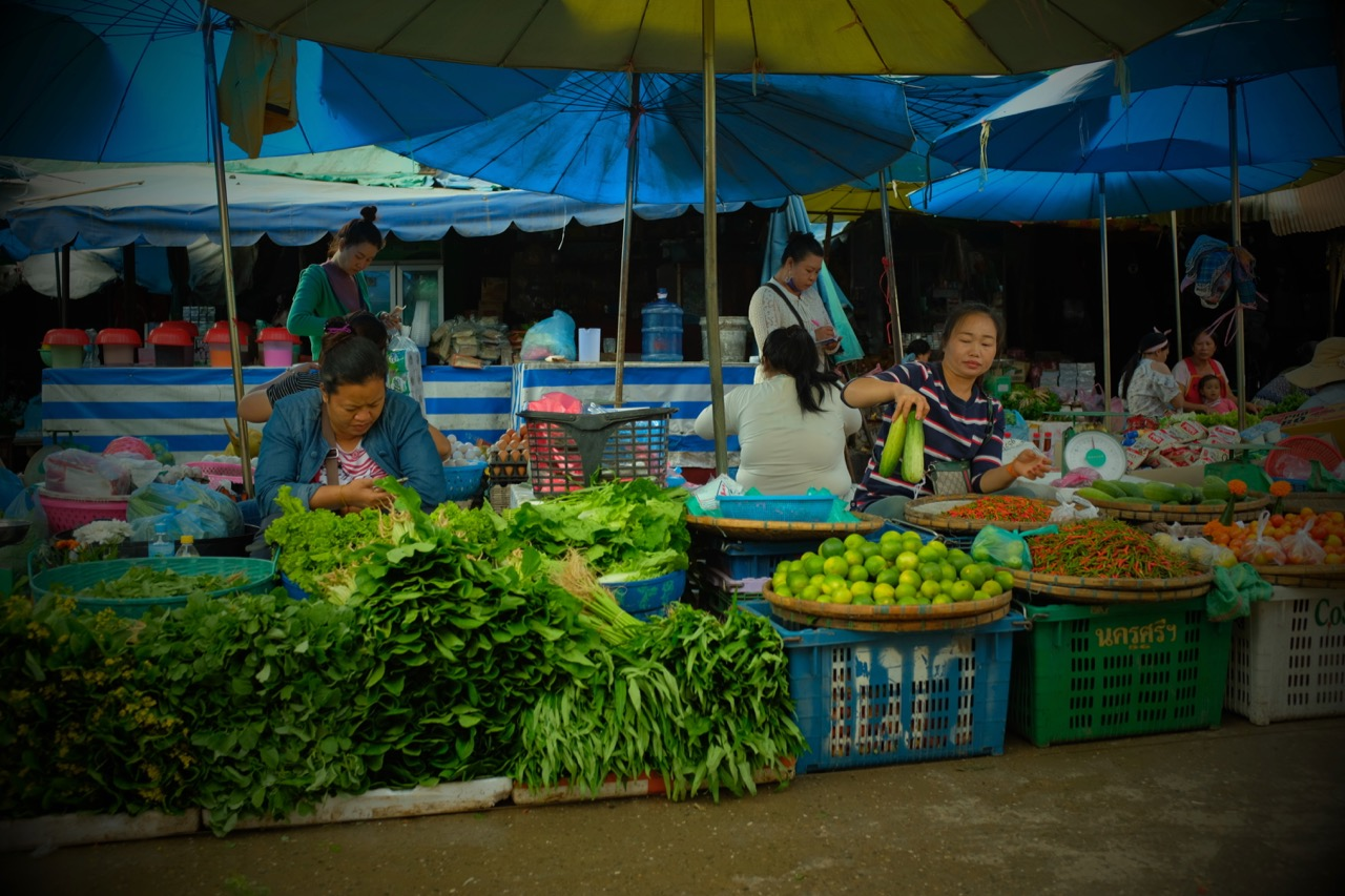 Local townspeople selling fresh vegetables at a food market just outside the town center.