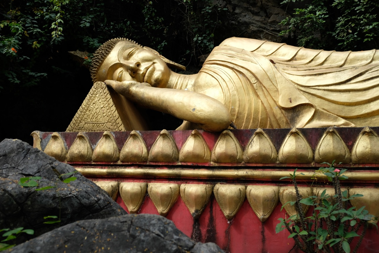 This reclining Buddha on the hillside of Mount Phu Is captures well the relaxed and meditative atmosphere of the ancient Lao capital of Luang Prabang.