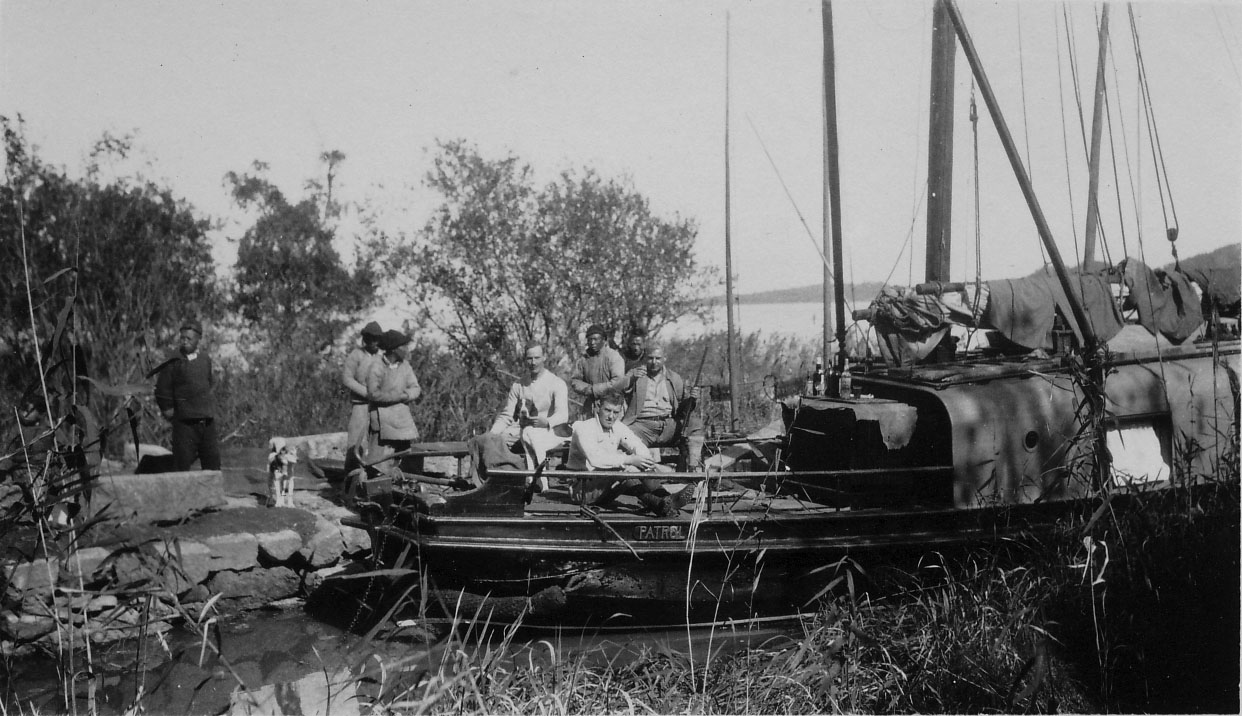 S. C. Young and friends boating somewhere outside of Shanghai (exact location and date unknown).