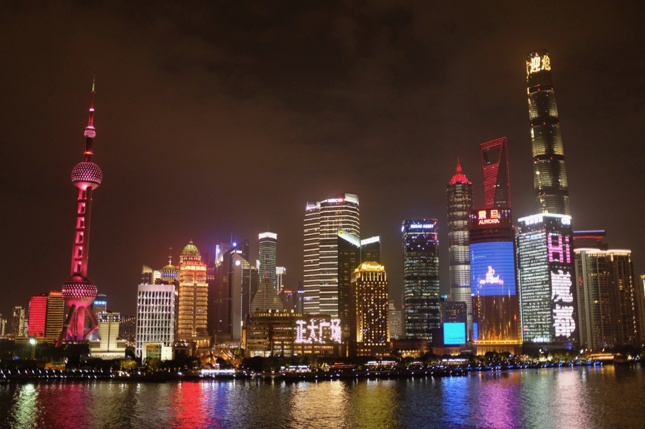 The buildings of Pudong, all tarted up for the New Year holiday