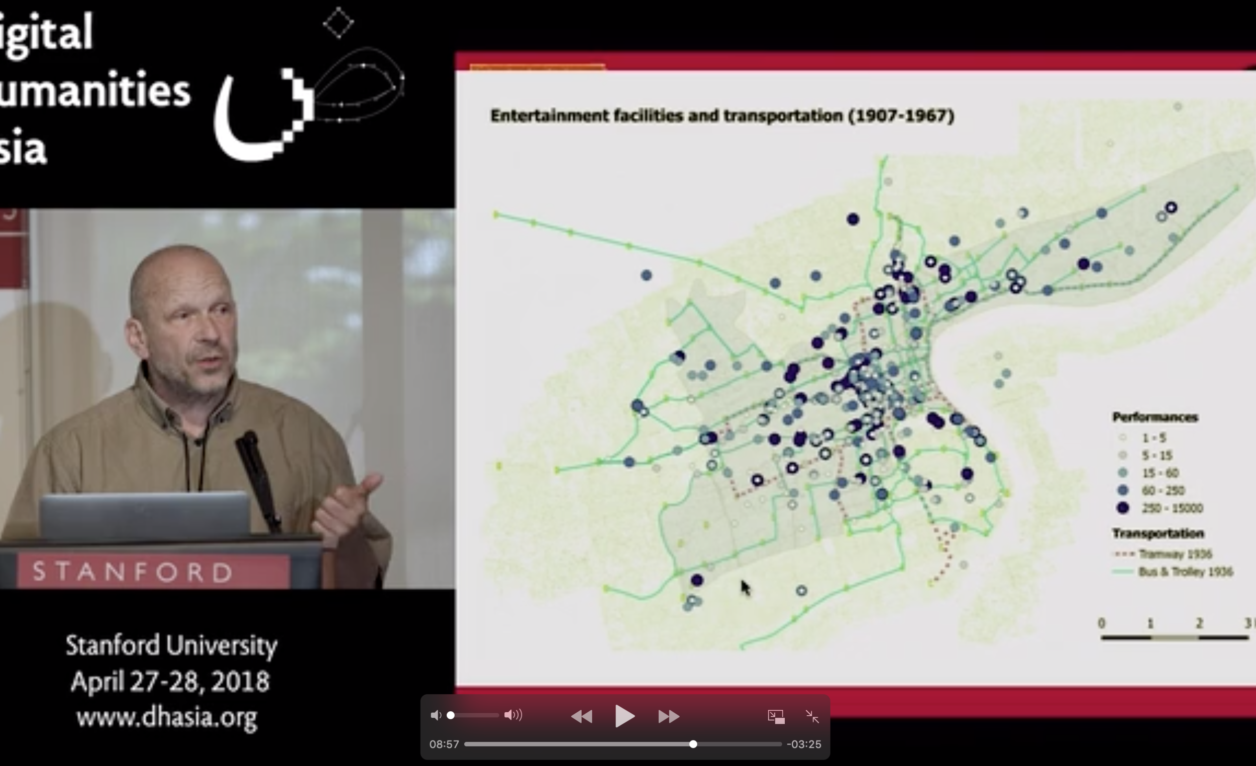 A screenshot of Dr. Christian Henriot's talk at Stanford University on his latest project, from a video posted on his own website  ankeqiang.org