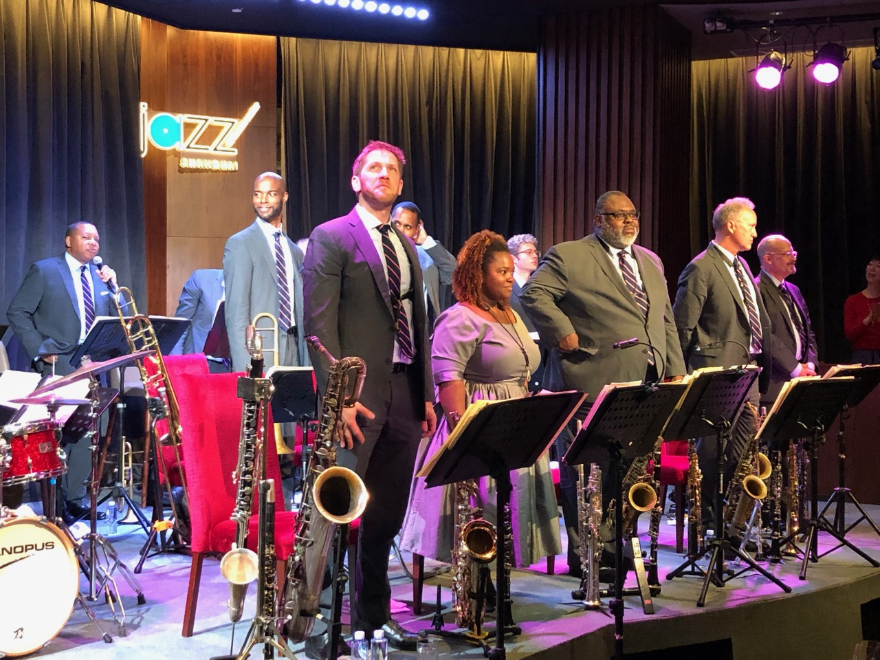 That's a mighty big horn section! Wynton Marsalis (back left) and big band at Jazz at Lincoln Center Shanghai