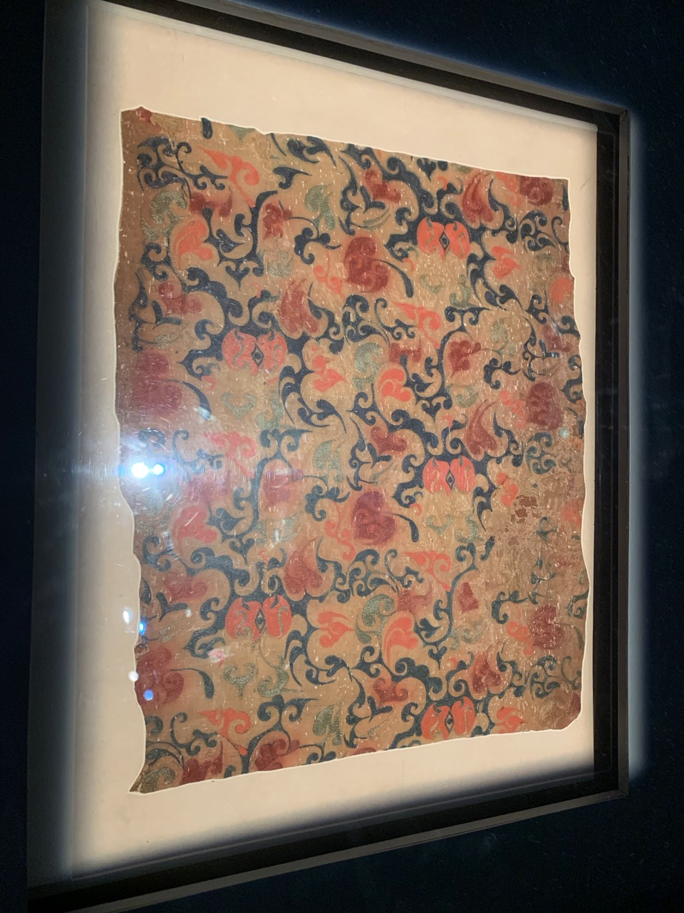One of many fine silk fabrics that are on display at the Mawangdui exhibition in the museum
