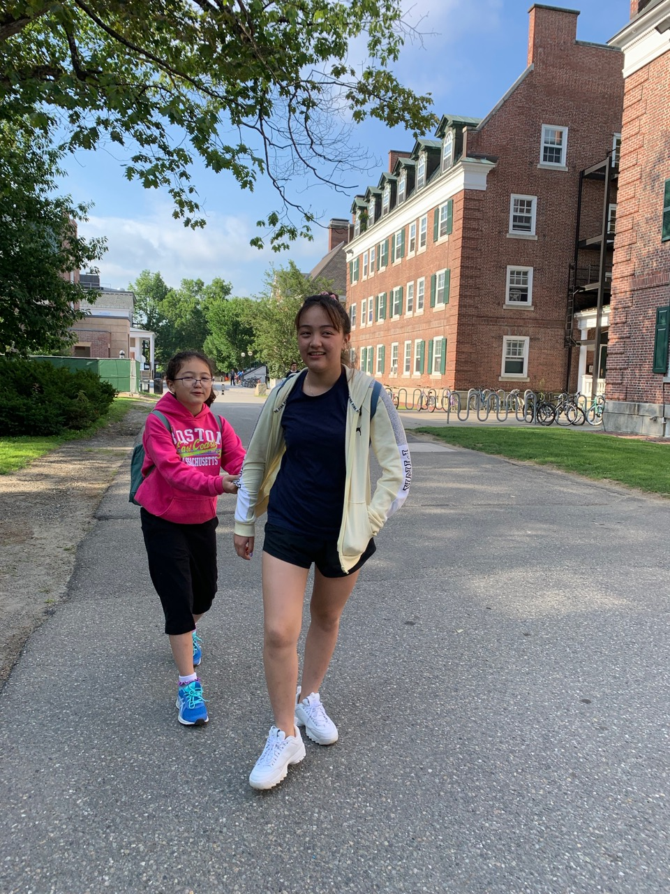 Hannah and Sarah on campus between meals