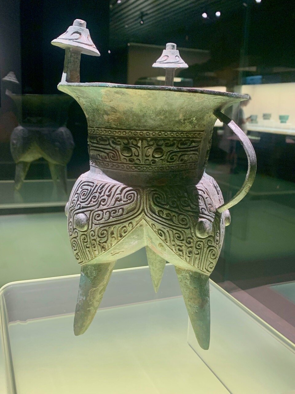 Jia Wine Vessel with Animal Mask, Mid Shang Period (15-13th c BC)