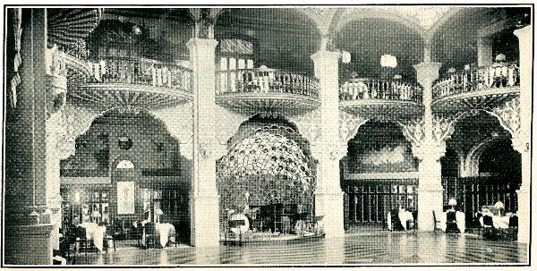 The Astor House ballroom featuring its peacock-fan shaped orchestral shell, built in the 1920s (this photo was taken from a guide to Shanghai published in 1932)