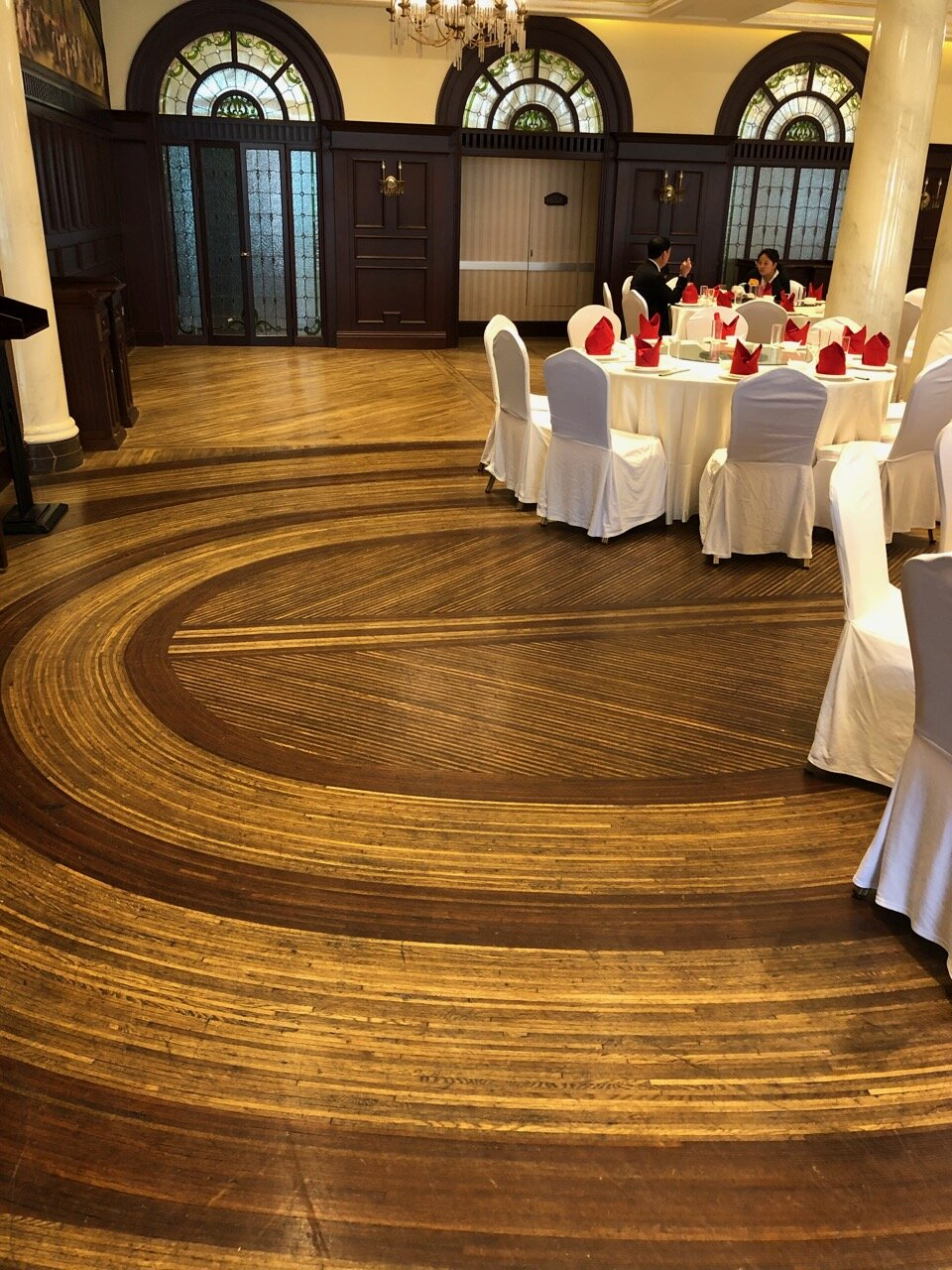 The original floor of the Astor House Ballroom can still be found in the space today. The ingenious design of this floor is described in Alvaro Leonardo's article (see link above)