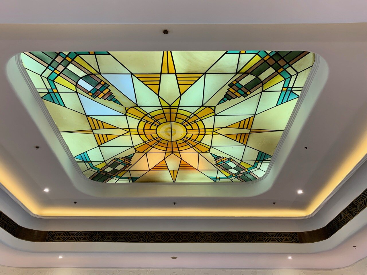 The skylight feature on the ceiling of the Park Hotel ballroom.