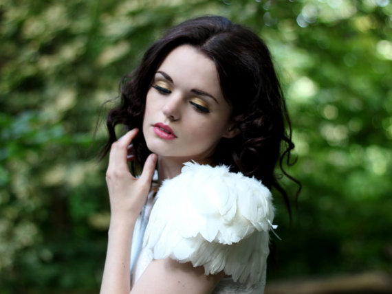 Ivory Feather Shoulder Pieces by  Rougepony