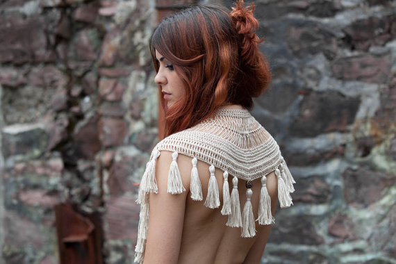 Collar-shawl with Tassels by  AbsentaAccessories