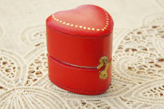 Vintage Heart Shaped Ring Box by  SycamoreVintage