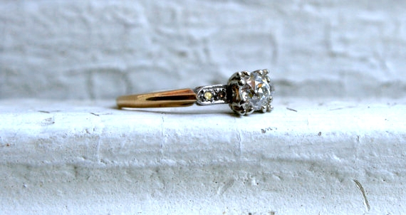 Art Deco Old Mine Cut Diamond Ring by  GoldAdore