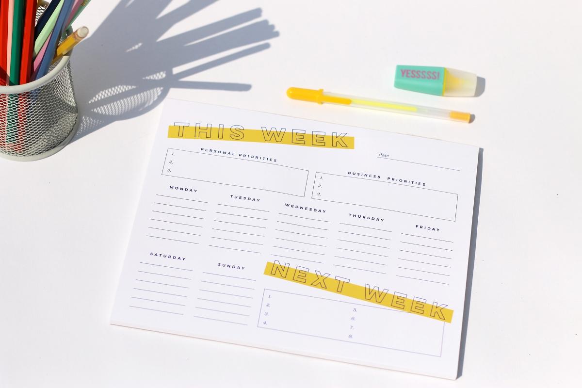 Weekly Priorities Planning Notepad