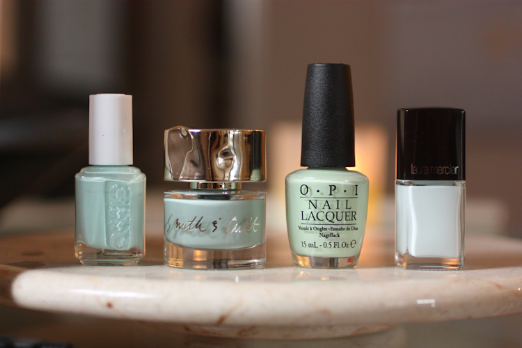 Essie Mint Candy Apple, Smith & Cult Bitter Buddhist, OPI That's Hula-rious, Laura Mercier Attitude