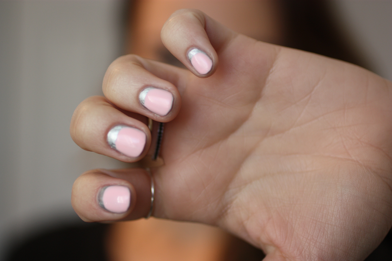 simple nail art using silver and pastel pink