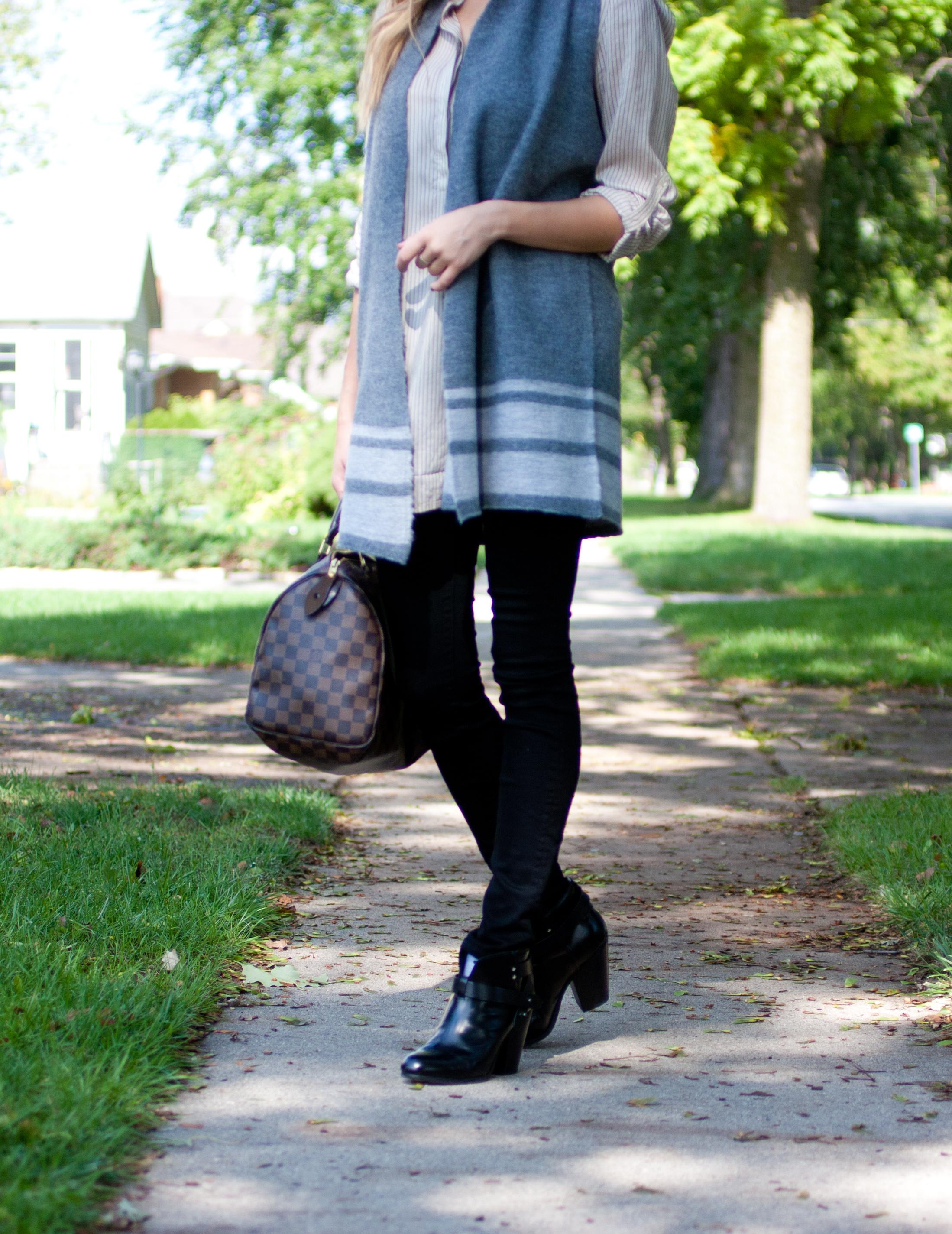 Vest - Nanette Lepore // Blouse - Vince // Jeans - Aritzia //  Booties  - rag & bone